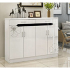 Luxe High Gloss 4-Door Double Buffet Shoe Storage Cabinet