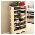 Spacious & Stylish 6 Tier Wooden Shoe Rack Organizer (White Oak)