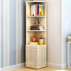 Vision Stylish Wooden Corner Shelf Unit with Cabinet & Drawer (White Oak)