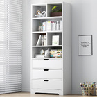 Luna 1.8m Tall Shelf Cupboard Bookshelf Wardrobe with Drawers (White)
