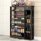 Maxim 8 Tier Shoe Rack Storage Organizer with Drawer (Black)