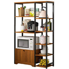 4-level Combination Organizer Double Cabinet Kitchen Storage Shelf (Black Walnut)