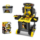 Tool Bench Station Deluxe Toy Set Tool Box with Trolley