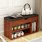 Wooden Cushioned Storage Ottoman & Shoe Cabinet (Chestnut & Black PU Leather)