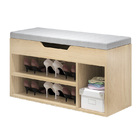 Wooden Cushioned Storage Ottoman & Shoe Cabinet (White Oak & Light Grey Cover)
