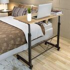 Adjustable Portable Sofa Bed Side Table Laptop Desk with Wheels (Oak)