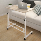 Adjustable Portable Sofa Bed Side Table Laptop Desk with Wheels (White Frame)