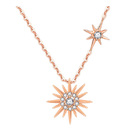 Sparkling CZ Diamond Sun Pendant Rose Gold Sterling Silver Necklace