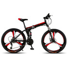 Deluxe Dual Suspension Foldable 21 Speed 3 Spoke Mountain Bike (Red & Black Bicycle)