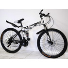Dual Suspension Foldable 21 Speed Mountain Bike  (White & Black Bicycle)