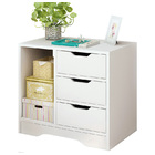 Zest 3 Drawer and Shelf Utility Side Table (White)