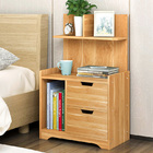 Harmony Tall Bed Side Table with Chest of Drawers and Shelf (Oak)