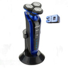 3D Triple Track Senso Touch Rotating Rechargeable Electric Shaver (Blue)