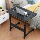 Impact Adjustable Portable Sofa Bed Side Table Laptop Desk with Wheels (Black Multi)