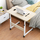 Impact Adjustable Portable Sofa Bed Side Table Laptop Desk with Wheels (White Oak)
