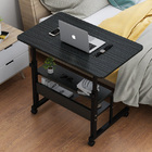Calibre 2-tier Sofa Bed Side Table Laptop Desk with Shelves and Wheels (Black Multi)