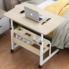 Calibre 2-tier Sofa Bed Side Table Laptop Desk with Shelves and Wheels (White)