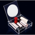 Crystal Clear Cosmetic Makeup Display Organiser Jewellery Box with Mirror