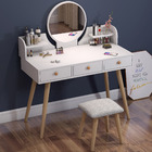 Queen Large Dresser Table with Mirror, Stool and Storage Drawers Set (White)