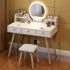 LED Luminous Queen Large Dresser Table with Mirror, Stool and Storage Drawers Set