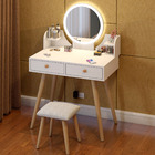 LED Luminous Princess Dresser Table with Mirror, Stool and Storage Drawers Set