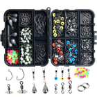 251 PC Fishing Accessories Lures Hooks Swivel Beads Kit Tackle Box