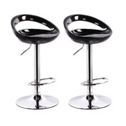 2 x  Envy High Gloss Designer Bar Stools (BLACK - Set of 2)