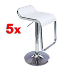 5 x Insight PU Leather Designer Bar Stools (WHITE - Set of 5)