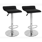 2 x Contemporary PU Leather Kitchen Bar Stools (BLACK -Set of 2)