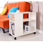 Versatile Sofa Side Table & Magazine Shelf with Casters (White)