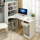 Large Combination Workstation Computer Desk with Storage Shelves (White)