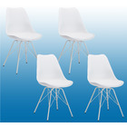4 x Deluxe Utopia PU Leather Chairs ( 4 Pack White)