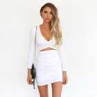 Long Sleeve Ruched Bodycon Mini Dress (White)