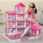 4-level Large Mansion Castle Doll House Palace Toy Set with Dolls & Furniture